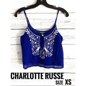Charolette Russe Cropped Embroidered Tank